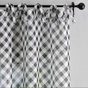 Pottery Barn Bias Gingham Tie Top Sheer Curtains